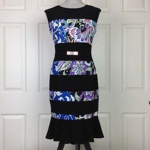 Joseph Ribkoff Black/Abstract Floral Print Dress